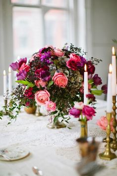gorgeous purple and pink floral centerpiece