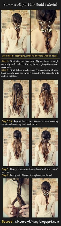 Summer Nights braid tutorial. Very Rapunzel-y! This must take some skill, but it looks easy enough :)