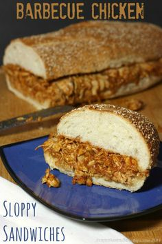 Barbecue Chicken Sloppy Sandwiches - this simple sandwich is quick and easy to prepare but can feed the whole gang at  a tailgate or party for the big game! | cupcakesandkalechips.com