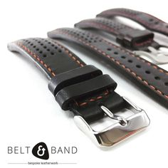 A padded rally strap with perforations is a great way to give your Omega an appealing sporty update. Handmade Jewelry, Handmade Leather, Made Goods, Leather Working, Omega, Sporty, Watch Straps, Belt, Luxury