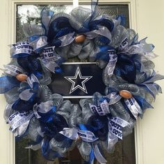 Dallas Cowboys Football Deco Mesh Wreath NFL by AnDoorableWreath on Etsy