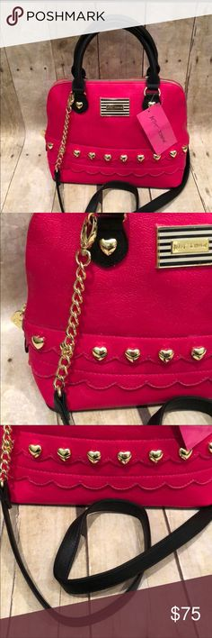Betsey Johnson handbag/crossbody NWT hot pink Betsey Johnson NWT hot pink handbag with gold accent.  Can be worn crossbody.  12x9 one zip pocket inside. Betsey Johnson Bags Shoulder Bags
