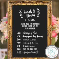 Wedding Program of Events Chalkboard Sign - Custom Wedding Signage , Wedding…