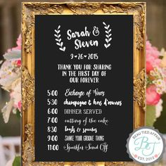 Wedding Program of Events Chalkboard Sign - Custom Wedding Signage , Wedding…