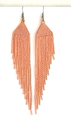 Long dangle earrings. Peach seed bead earrings with fringe.  Length - 14 cm (5.5) (including ear wires). Width - 2 cm (0.8)  Earrings are lightweight.  More seed bead earrings from my shop you can see here: https://www.etsy.com/shop/HappyBeadwork?section_id=18816158