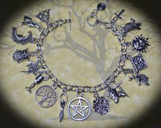 The Pagan Ways Charm Bracelet - Wicca, Witch, Handmade, Pentacle Yasmine Galenorn, Geeks, Wiccan Jewelry, Medieval Jewelry, Steampunk, Magick, Witchcraft, Book Of Shadows, Pandora Jewelry