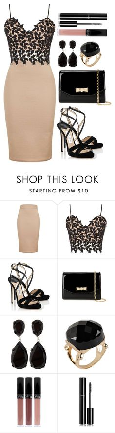 """""""Untitled #4131"""" by natalyasidunova ❤ liked on Polyvore featuring Topshop, Bardot, Jimmy Choo, Ted Baker, Kenneth Jay Lane, ALDO and Chanel"""