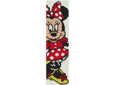 Pattern peyote Minnie PDF for bracelet par AntosCreations sur Etsy Bead Loom Bracelets, Beaded Bracelet Patterns, Peyote Patterns, Loom Patterns, Beading Patterns, Beaded Banners, Cross Stitch Bookmarks, Native American Beadwork, Beaded Bracelets