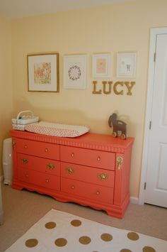 Coral Painted Dresser  Changing Table