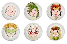 Paint a face on a plate at a paint your own pottery place. Then use fruits and veggies to decorate! How fun for kids!!
