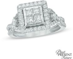 Zales 1 CT. T.W. Quad Princess-Cut Diamond Past Present Future® Engagement Ring in 10K White Gold