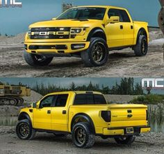 Yellow custom Ford Raptor out of Miami with UnderCover Lux bed Cover New Trucks, Lifted Trucks, Cool Trucks, Pickup Trucks, Cool Cars, Ford Rapter, Car Ford, Ford 2000, Fords 150