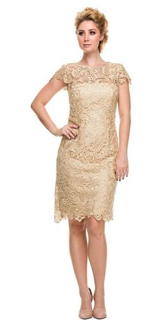 Short Cap Sleeve Lace Dress with Illusion Neckline by Nox Anabel 5064 - ABC Fashion