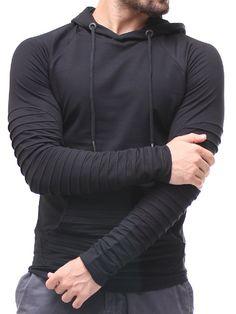 P&V Men Stylish Ridged Hoodie  - Black
