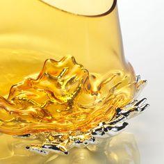Vaso in vetro soffiato - CORALLO #vetrosoffiato #argentopuro #arte #vaso