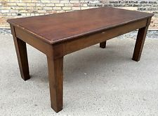 Large Vintage Oak Wood Dining Library Laboratory Work Table w/Masonite Top