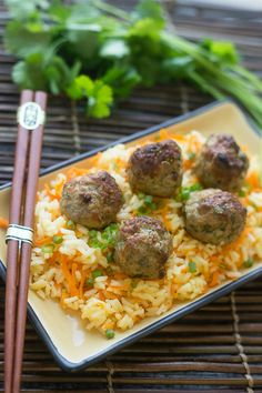 Baked Asian Turkey Meatballs with Carrot Rice by dinneratthezoo #Meatballs #Turkey #Carrot #Rice #Healthy
