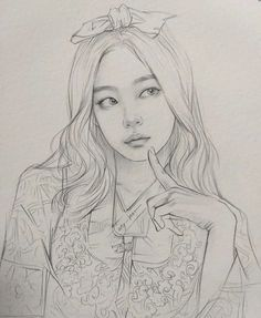Pink Drawing, Girl Drawing Sketches, Portrait Sketches, Girl Sketch, Art Drawings Sketches Simple, Pencil Art Drawings, Cute Drawings, Beautiful Pencil Sketches, Art Drawings Beautiful