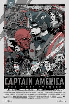 "2011 ""Captain America"" - Silkscreen Movie Poster by Tyler Stout Poster Marvel, Marvel Movie Posters, Avengers Poster, Movie Poster Art, Marvel Movies, Print Poster, Poster Drawing, Art Print, Ms Marvel"