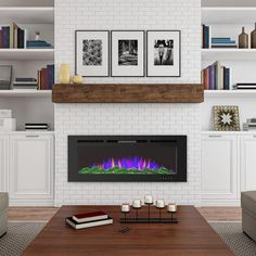 Fireplace Fronts, Fireplace Built Ins, Home Fireplace, Fireplace Ideas, Built In Around Fireplace, Basement Fireplace, Fireplace Shelves, Tiled Fireplace Wall, Brick Fireplace Remodel