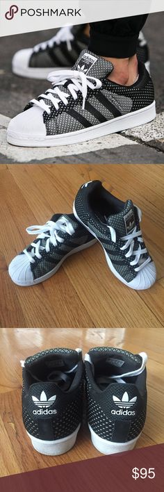 Worn 1x - Superstar Weave Pack - Black/Grey/Wht Worn 1x. Grade School Size US4 (will fit a Women's Size US 6). Original shoe box included. Adidas Shoes Sneakers