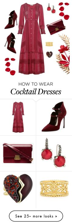 """""""red dress"""" by marlenewelke on Polyvore featuring LoveShackFancy, Christian Dior, Yves Saint Laurent, Stephen Dweck, Konstantino and Alexis Bittar"""