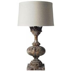 Table Lamp Distressed Antique Natural Wood New Hand-Carved Carved CW-950