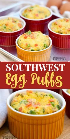 These quick and Easy Southwest Egg Puffs Recipe are a low-carb breakfast idea. They include pureed yellow squash in the recipe and directions for how to make squash puree. This make-ahead egg dish includes delicious southwest spices and cheese.
