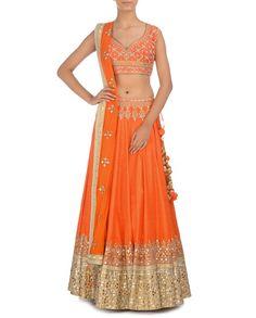Orange Lengha Set with Gota Patti Work