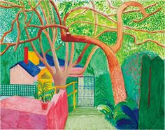 Learn more about The Gate by British artist David Hockney. David Hockney Landscapes, David Hockney Artist, David Hockney Paintings, Robert Rauschenberg, Gustav Klimt, Gravure Illustration, Illustration Art, Pablo Picasso, Pop Art Movement