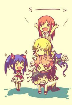 Fairy Tail pyramid. I can totally see this playing out. Pretty sure Natsu would end up tipping it over.