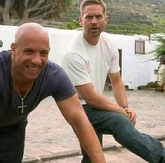 Vin Diesel and Paul Walker behind the scenes of Fast and Furious 6.