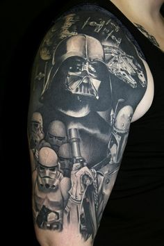 star wars #tattoo. This is super rad. The detail and shading is amazing