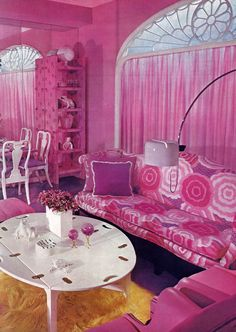 #Pink & #Purple #Living, #House & #Garden's #Complete #Guide to #INTERIOR #DECORATION ©1970 ⭐️ #interiordesign #1960s #1970s #groovy #flowerpower #dollhouse #design #shagrug #style #vintagevitta via #thugsdisco via #drydockshop