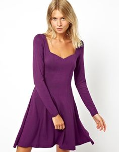Image 1 ofASOS Skater Dress With Sweetheart Neck And Long Sleeve