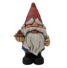 "8"" Tall Garden Gnome Statue with Bird"