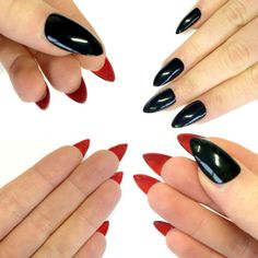 Doobys Stiletto Nails - Black Gloss Red Bottoms - 24 Claw Point False Nails