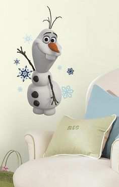 SET of TWO Olaf FROZEN snowman, Disney Decals, Movie Children Wall Stickers Bedroom Wall Decor via Patron284863