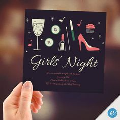 Glitz and Glam PRINT FROM HOME Girls Night by EventureCards