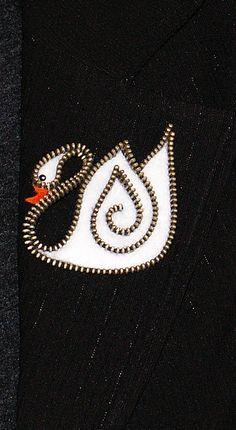 Swan original designer zipper and felt handmade brooch. by 3latna, $19.00