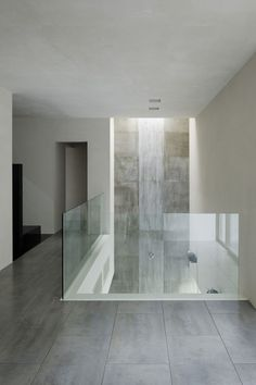 Architecture, Glass Railing And Ceramic Floor Tiles Modern House Design With White Interior Color Decorating Ideas: Interesting House of Silence by FORM/Kouichi Kimura Architects Interior Modern, Interior And Exterior, Marble Interior, Glass Stairs, Staircase Glass Railing, Basement Staircase, Glass Fence, Railings, Glass Balustrade