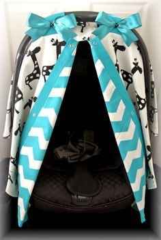 carseat canopy, car seat cover, black, white, TEAL, giraffe, chevron, polka dots, bows, baby, infant girl, baby girl, baby boy, infant boy