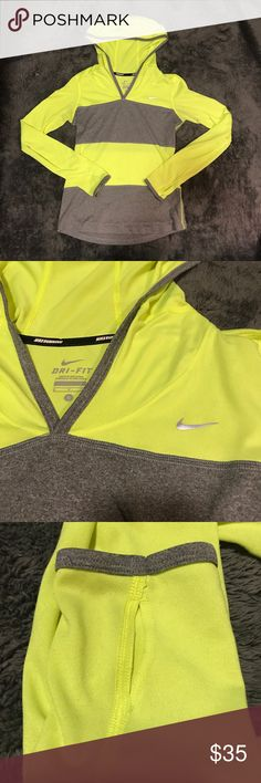 Nike Sweatshirt Neon yellow and gray Nike sweatshirt. Perfect for running or if you just want something comfy and cute. Nike Tops Sweatshirts & Hoodies