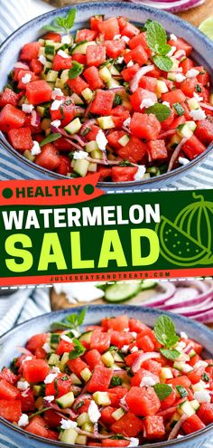 Watermelon Salad is the healthy salad recipe for this hot weather! Have a refreshing taste of this summer salad with a blend of cucumbers, red onions, mint, and watermelon tossed in a lime dressing and topped with cheese! Best Salad Recipes, Lunch Recipes, Sweet Recipes, Healthy Recipes, Easy Salads, Healthy Salads, Summer Salads, Watermelon Salad, Fruit Salad