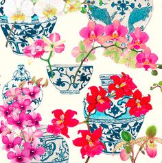 Caspari Chinoiserie was one of Container Store's top 3 wrapping paper picks