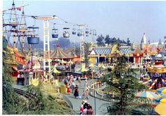 The original Skyway bucket gondolas soar over a pre-Matterhorn, colorful Fantasyland, Disneyland, 1957 | Flickr