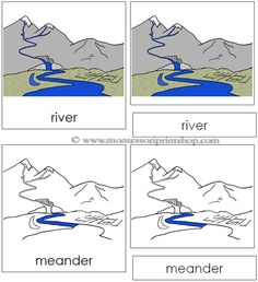 River Nomenclature Cards - 9 Parts of the River in 3-Part Cards, includes Black-Line Master.