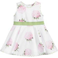 39a09a0aab2cc Monnalisa Baby Girls White Dress with Pink Hydrangea Print at  Childrensalon.com 夏のワンピース
