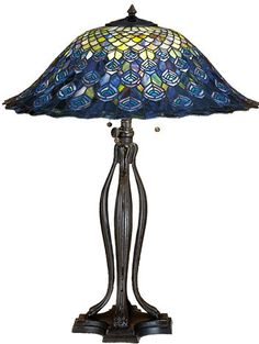 Meyda Tiffany Style Peacock Feather Stained Glass Table Lamp