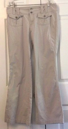 Express Casual Pants Khaki Size 12 Cotton/Spandex Boot Cut Low Rise Button Zip #Express #CasualPants